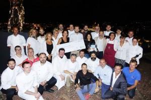 Gli chef dell'dizione 2016 alla fine della serata con l'assegno donato ad Amtrice